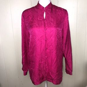 Oriental satin like button down blouse Sm Fuchsia